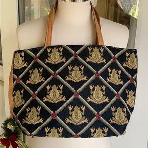 Excellent Vintage Frog Embroidery Talbots Bag